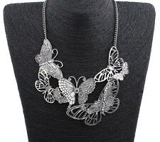 Vintage butterfly Women Silver Fashion Pendant Statement Collar Bib Necklace