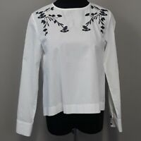 Zara Basic white floral embroidered long sleeve blouse top women's size xs