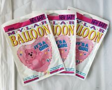 Vintage Anagram Baby Shower Mylar Balloons Its a Girl Pink Helium Heart Lot Of 3