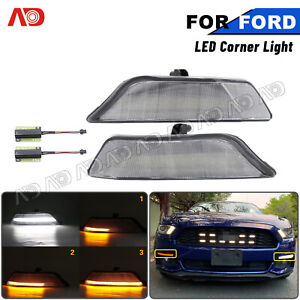 For 15-17 Ford Mustang Sequential LED Turn Signal Light w/Daytime Running DRL 2X