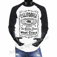 3/4 Sleeve Baseball Raglan Jersey Tee Cali California Republic Men's T-shirt Tee