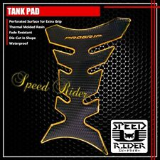 PROGRIP TANK PAD PROTECTOR DECAL GEL GUARD PERFORATED BLACK/CHROMED GOLD EDGE