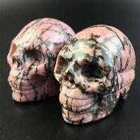"top!2"" Natural Rhodonite Quartz Crystal Skull Carved Skull Reiki Healing 1pc"