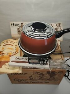 New Old Stock Vintage Oster Electric Fondue Set with Book and Fork set 1978