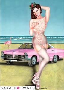 Dita pink cadillac limit. Prin pin-up burlesque art illustration by SARA HORWATH