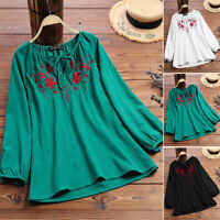 ZANZEA 8-24 Women Long Sleeve V Neck Tie Up Top Tee T Shirt Embroidered Blouse