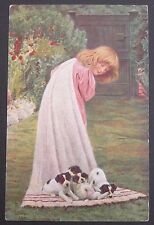 A/S Cute Girl in a Flower Garden Pulling Brown & White Puppies on a Blanket pc