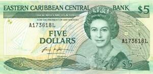 Eastern Caribbean States $5 Dollars Currency Banknote 1986 CU