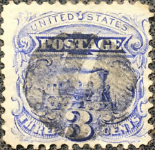 Vintage US Scott #114, Locomotive 1869 3 Cent Postage Stamp