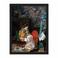 Palmaroli In The Study Woman Painting Large Framed Art Print