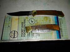 """Vintage Pocket Knife Lock Blade in Original Package, Wood Handle 4"""""""