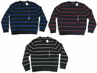 Polo Ralph Lauren Mens Lambs Wool Knit Striped Pony Logo Crew Neck Sweater