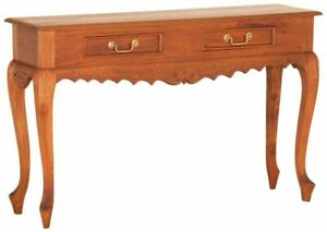 Hall Table Timber Pecan Brown 2 Drawer Console Table Carved W.120cm.