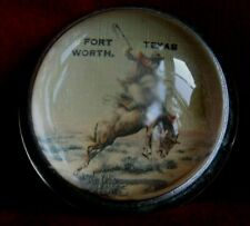 VINTAGE GLASS PAPERWEIGHT FORT WORTH, TEXAS, COWBOY ON A HORSE