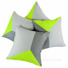 Set of 4 Lime Green & Grey Linen Geometric Design 18 inch Cushion Covers Tri