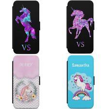 Las Iniciales De Nombre Personalizado Unicornio Abatible Billetera Teléfono Estuche Cubierta IPHONE SAMSUNG