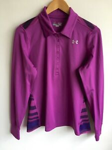 UNDER ARMOUR WOMENS L 12-14 STRIPED COLD GEAR LONG SLEEVE POLO T SHIRT TOP GOLF