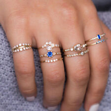 CO_ 8Pcs Elegant Women Crystal Rhinestone Midi Stacking Above Knuckle Rings Drea