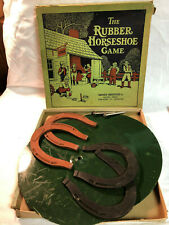 Vintage Original Parker Brothers The Rubber Horseshoe Game 6 Pc Set In Outside