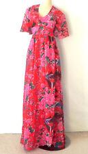 Vtg Maxi Dress Empire Waist Multi-Color Floral Tie Back Size M