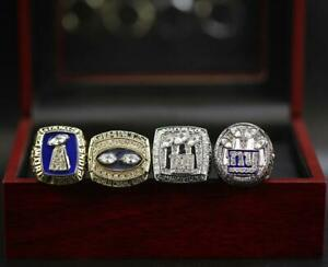A Set New York Giants 1986 1990 2007 2011 Championship Rings With Display Case