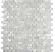 White Brick Mother of Pearl Mosaic Tile For Bathroom Kitchen Shower Wall Tile