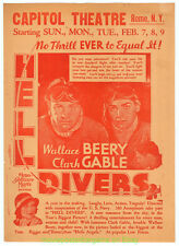 HELL DIVERS MOVIE POSTER Original 9x12 Inch HERALD CLARK GABLE WALLACE BEERY