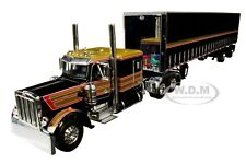 PETERBILT 359 W/ 53' UTILITY TAUTLINER TRAILER BLACK 1/64 DCP/FIRST GEAR 60-0753