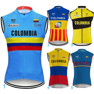 Colombia Sleeveless Cycling Jersey Vest Bicycle Bike Motocross Shirt Clothing