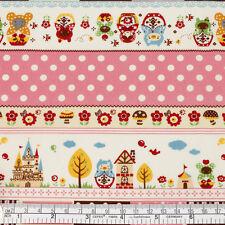 Cotton Fabric FQ Russian Doll Flower Star Bird Balloon Polka Dot Lace Stripe VP3