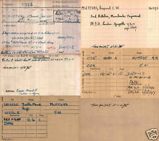 MEDAL RESEARCH - Medal Index Cards 1914/1920 WW1 World War One