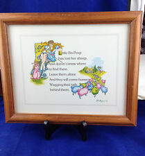 framed nursery rhyme lithograph Little Bo Peep  by M E Hodges 8 x 10 litho