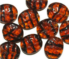 Tortoise Dimple Flat Czech Pressed Glass Beads 16x14mm (pack of 10)