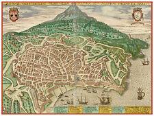 Catania Sicily Italy bird's-eye view map Braun Hogenberg ca.1598