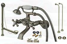 Satin Nickel Clawfoot Tub Faucet Package Kit Includes Drain - Supplies & Stops