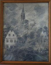 "CHARLES FRANTZ (1889/1957)   "" BOMBARDEMENT STRASBOURG  1944  ""  - Signé"