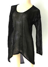 Boston Proper Tunic/Cover-Up Crochet Net Black 3/4 Sleeve Hi-Low Size S