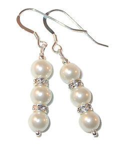 WHITE Pearl Earrings Bridal Swarovski Crystal Elements Sterling Silver Dangle