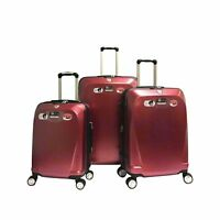 Red 100% Polycarbonate 3 PCS Spinner Luggage Set Hardshell Lightweight TSA Lock
