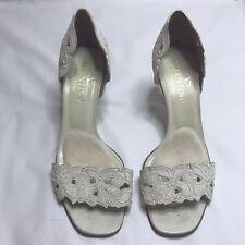 Valentino Garavani Sandal Heels White Leather Floral Women's 8.5  38.5