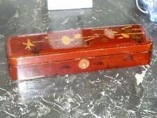 ANCIENNE BOITE A GANT PLUMIER EN LAQUE DE CHINE SIGNEE ASIE JAPON OISEAU LISERON