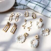 Vintage Pearl Gold Plated Embossed Irregular Pendant Drop Ear Studs Earrings
