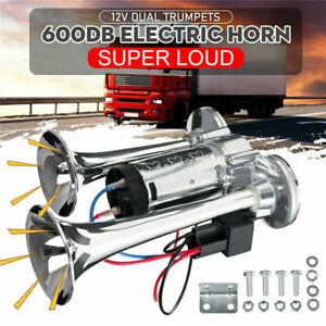 600DB 12V Dual Trumpets Super Loud Car Electric Horn Boat Truck Train Speaker