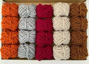 Yarn Wool Winter Shades Job Lot Knitting Crochet Squares Pompom Crafts Bundle