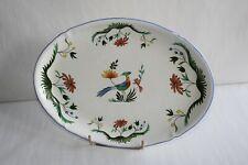 Plat de service ovale en faïence de Gien, Oiseaux de Paradis  31 cm x 22.5 cm