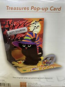 Happy Halloween Greeting Card 3D Pop Up Black Cat Treasures Up With Paper