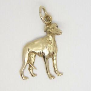 Greyhound Charm / Pendant - 9ct Yellow Gold - 29x23mm