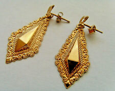 9ct Gold Creole Drop Dangle Earrings With Butterfly Backs 30mm Drop Size