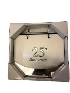 "Malden Silver 4"" x 6"" 25th Anniversary Flip Top Album Holds 40 Photos"