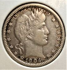 1904-O Silver Barber Quarter, Better Date, Nice Detail